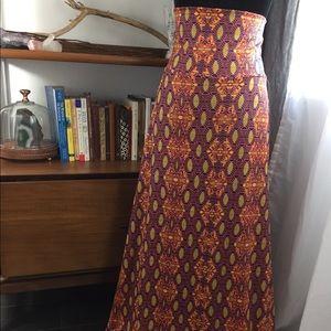 NWT Lularoe Maxi Skirt Large Orange Blue